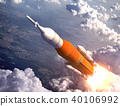 American Space Launch System Flying Over The Clouds 40106992