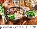 Japanese Udon noodles with beef 40107194