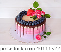 beautiful homemade birthday cake with live roses 40111522