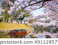 Hikone Castle Moat in Spring 40112857