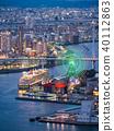 osaka harbor, osaka, lit up 40112863