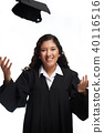 Young girl throwing student hat 40116516