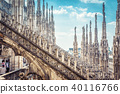 Amazing view of the Milan Cathedral roof, Italy 40116766