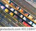 Aerial view of colorful freight trains 40116847