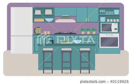 Kitchen Interior Vector Stock Illustration 40119926 Pixta