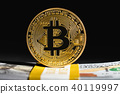 Bitcoin cryptocurrency coin with cash 40119997