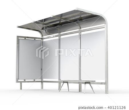 3D render bus shelter 40121126