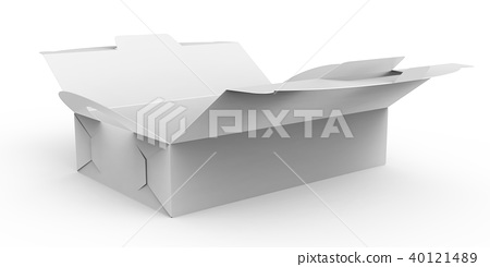Blank open paper box with handle 40121489