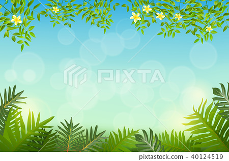 Exotic tropical leaf and frower border background  40124519