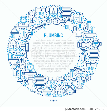 Plumbing concept in circle with thin line icons 40125285