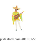 Mexican musician in traditional national clothes with guitar vector Illustration on a white 40130122