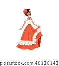 Young beautiful mexican woman in traditional national dress vector Illustration on a white 40130143