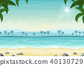 Tropical Beach Landscape With Palm Trees 40130729