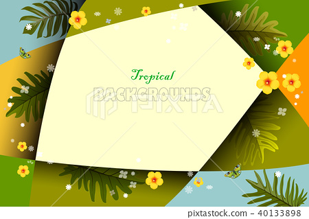 Bright tropical background with jungle plants. 40133898