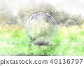 Golf ball on watercolor painting background. 40136797