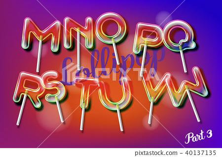 Lollipop sweet candy colorful alphabet font 40137135