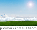 Green grass field landscape with snow mountain 40138775