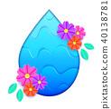 Blue water drop 40138781
