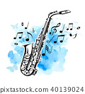 Saxophone on a blue watercolor background 40139024