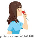 Woman Smelling Rose 40140408