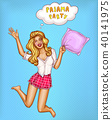 Vector pajamas party - pop art jumping girl 40141975