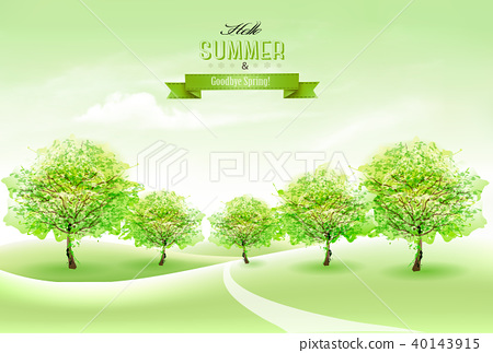 Summer nature background with green trees 40143915