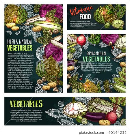 Fresh vegetable and mushroom chalkboard banner 40144232