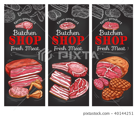 Meat and sausage chalkboard banner of buncher shop 40144251