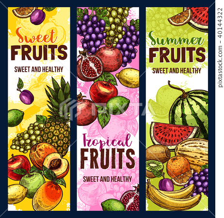 Fruit and berry banner of tropical or garden plant 40144322