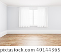 Blank simple interior room background empty white walls corner and white wood floor contemporary,3D 40144365
