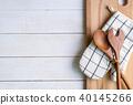 Kitchen utensils on wooden background 40145266