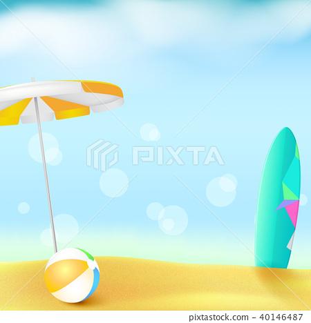Sunny beach with Golden sand and blue sky. Summer 40146487