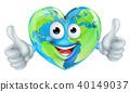 Cartoon World Earth Day Thumbs Up Heart Globe Character 40149037