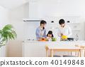 家庭,父母和孩子,厨房,帮助 40149848