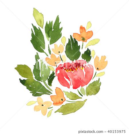 Loose watercolor flowers arrangement 40153975