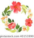 Watercolor loose red flowers wreath 40153990