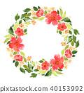 Watercolor loose flowers wreath 40153992