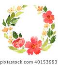 Loose watercolor floral wreath 40153993