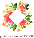 A frame with watercolor loose flowers 40153996