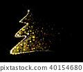 Vector golden, glitter Christmas tree.  40154680