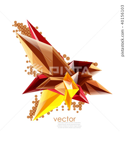 Color glass crystals on white background, geometric abstract composition with glass gemstones and 40156103
