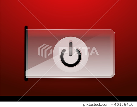 Glass transparent effect power start button, on off icon, vector UI