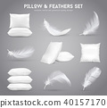 Feathers And Pillows Realistic Set 40157170