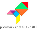 Color wood tangram puzzle in rocket or missile 40157303
