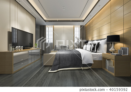 luxury modern bedroom suite in hotel 40159392