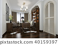 european style study room with wood bookshelf 40159397