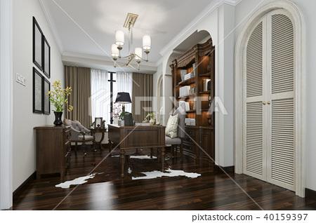 european style study room with wood bookshelf 40159397