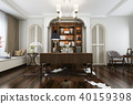 european style study room with wood bookshelf 40159398