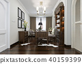 european style study room with wood bookshelf 40159399
