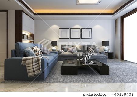 loft luxury living room with bookshelf and tv 40159402